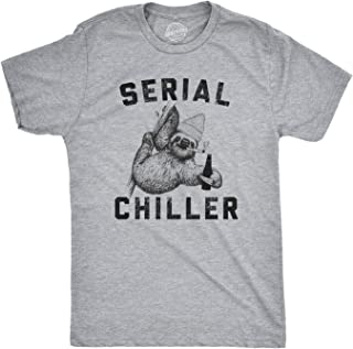 Mens Serial Chiller T Shirt Funny Lazy Sloth Face Tee Weird Tshirt Cool Tee