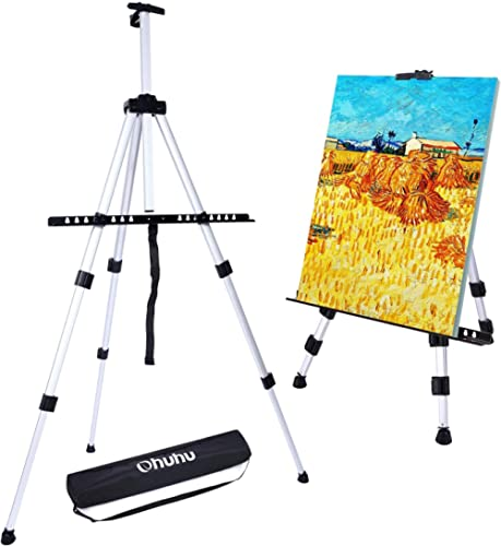 """Artist Easel, Ohuhu 66""""/167cm Aluminum Field Easel Stand with Bag for Table-Top/Floor, Art Easels with Adjustable Hei..."""