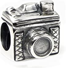 Queenberry Sterling Silver Classic 3D Photography Camera Bead for European Charm Bracelets