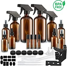 Glass Spray Bottle, SXUDA Amber Glass Spray Bottles Set Roller Bottles for Essential Oils, Cleaning Products or Aromatherapy (16OZ, 8OZ, 4OZ, 2OZ, 2OZ Dropper Bottle) x 2, 10 ml Roller Bottle x 4