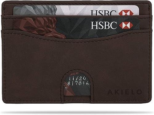 AKIELO Minimalist RFID Blocking Card Holder and Gift Box – Mens Credit Card Wallet – Compact and Slim Wallet (Echo Co...