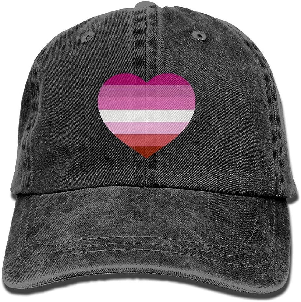 SWEET-YZ Lesbian Pride Heart Cotton Denim Baseball Cap Hat for Men Women