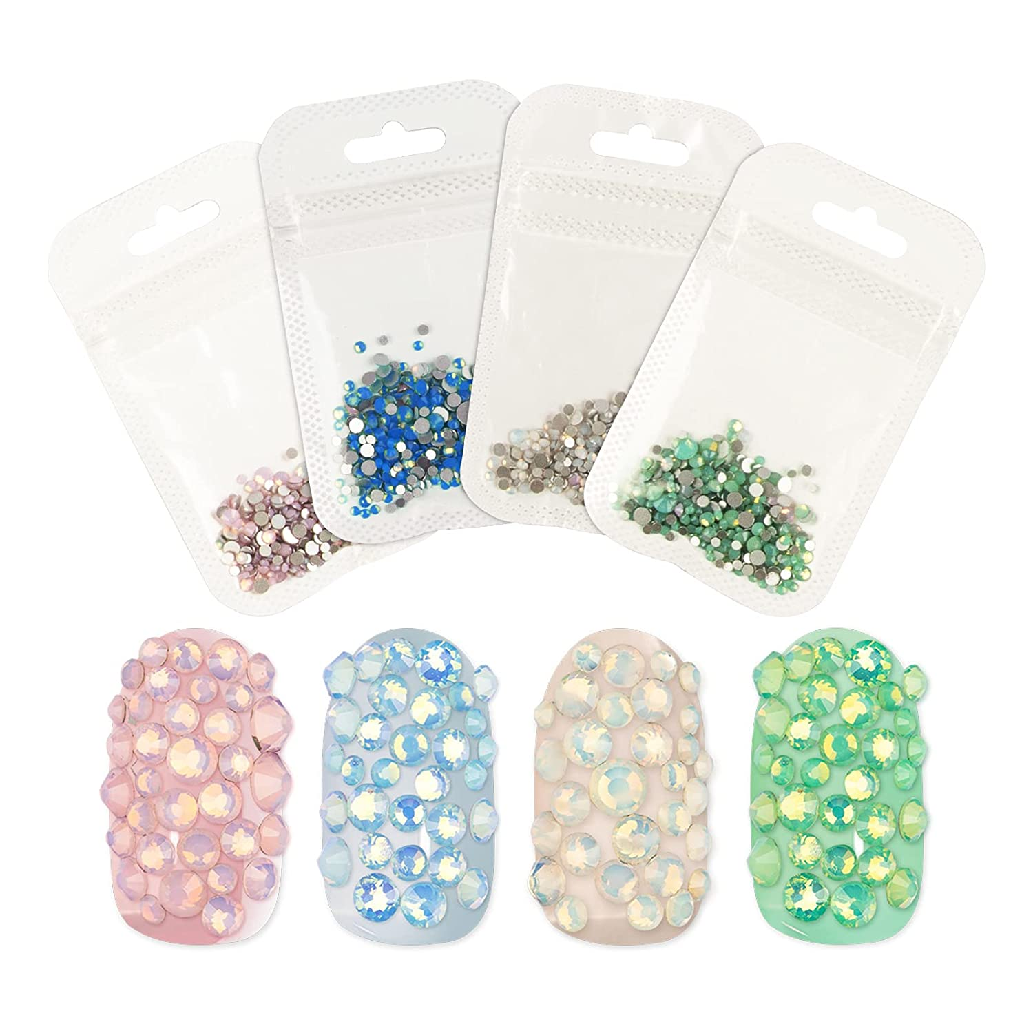 RONRONS 4 Pack Mix Size Sparkly Sales for sale Nail Flatback A Ranking integrated 1st place Opal Rhinestones