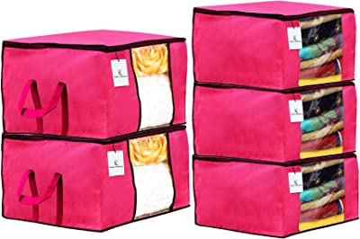 Kuber Industries Non Woven 3 Pieces Saree Cover and 2 Pieces Underbed Storage Bag, Cloth Organizer for Storage, Blanket Cover Combo Set (Pink) -CTKTC038478