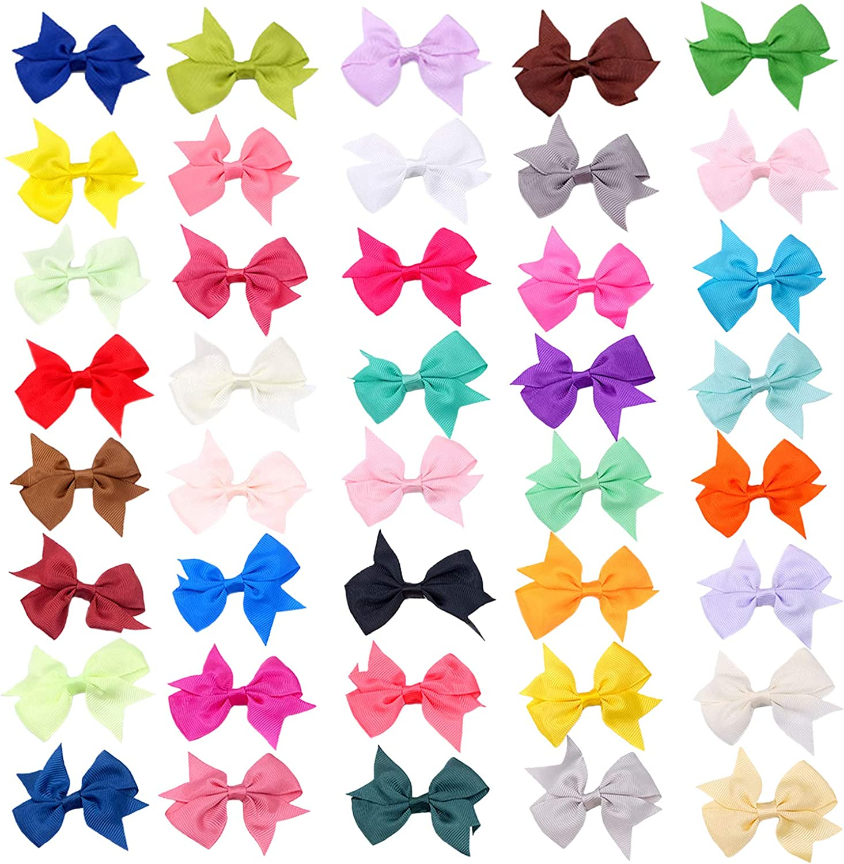 Pinzas para el pelo con cinta de grosgrain Lazos Mini Pinzas para el Cabello Lazos de pinzas de pelo multicolores Pinza de cocodrilo boutique para bebés adolescentes niños accesorios cabello 40 pcs