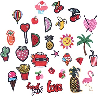 CCINEE 30pcs Iron On Patches DIY Sew On Decorative Appliques Stickers Embroidery Patches for Cloth Backpacks Jeans Coats, Fruits & Snacks Theme