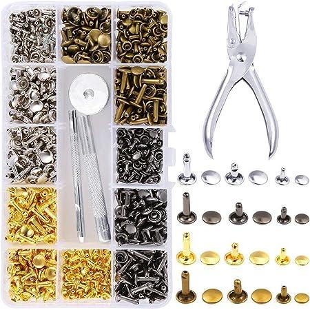 EEIEER 360 rivet cuir Set double Casquette Rivet clous en métal tubulaire 3 tailles avec Punch Pince 3 pièces et outil de configuration kit pour cuir Craft réparation de décoration, 4 couleurs