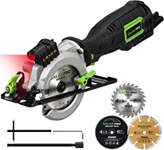 """Circular Saw, GALAX PRO 5.8A 3500RPM 4-1/2"""" Professional Corded Circular Saw with Laser Guide, Rip Guide, Vacuum Adapter, 3Pcs Blades plus 1 Hex Wrench, Max Cutting Depth 1-11/16""""(90°), 1-1/8""""(45°)"""
