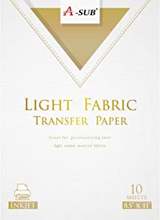 A-SUB Iron-On Light T Shirt Transfer Paper 8.5x11 Inches Letter Size Compatible with Inkjet Printer 10 Sheets