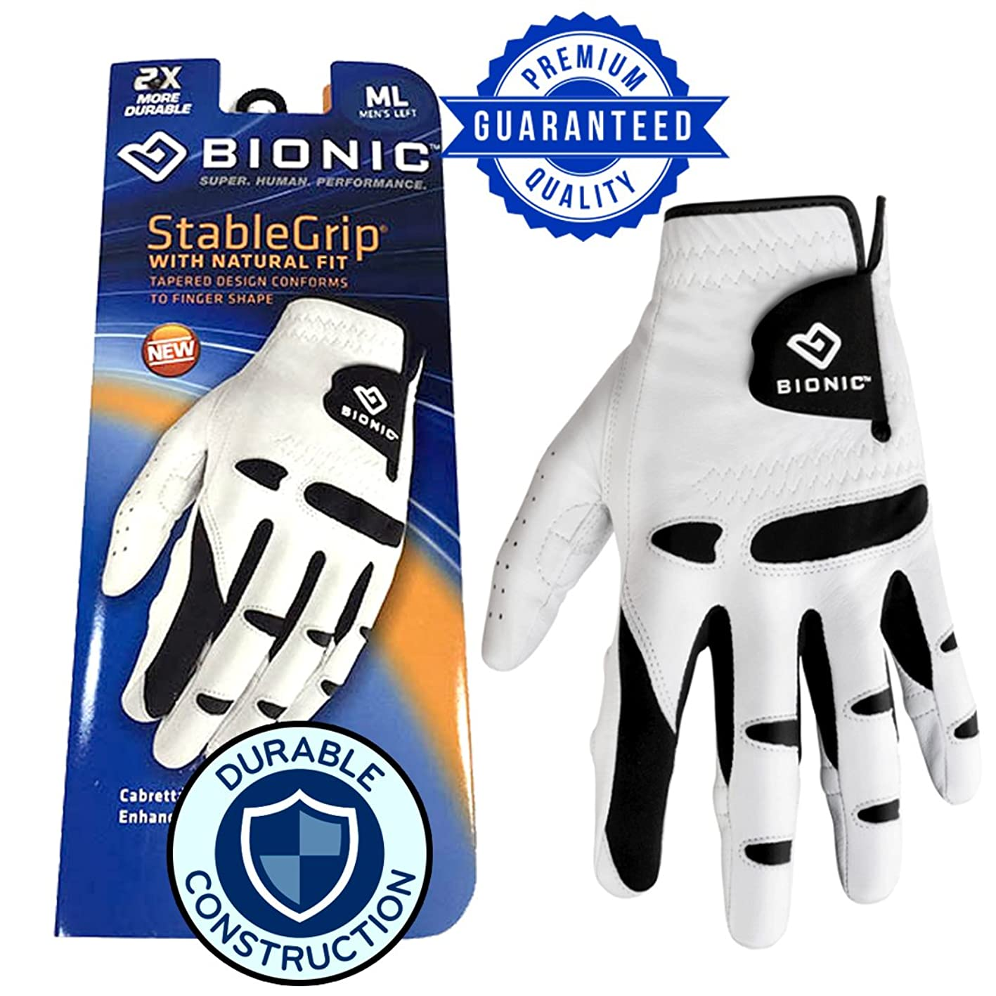 New & Improved 2X Long Lasting Bionic StableGrip Golf Glove - Patented Stable Grip Genuine Cabretta Leather, Designed by Orthopedic Surgeon! qviciktylfy389