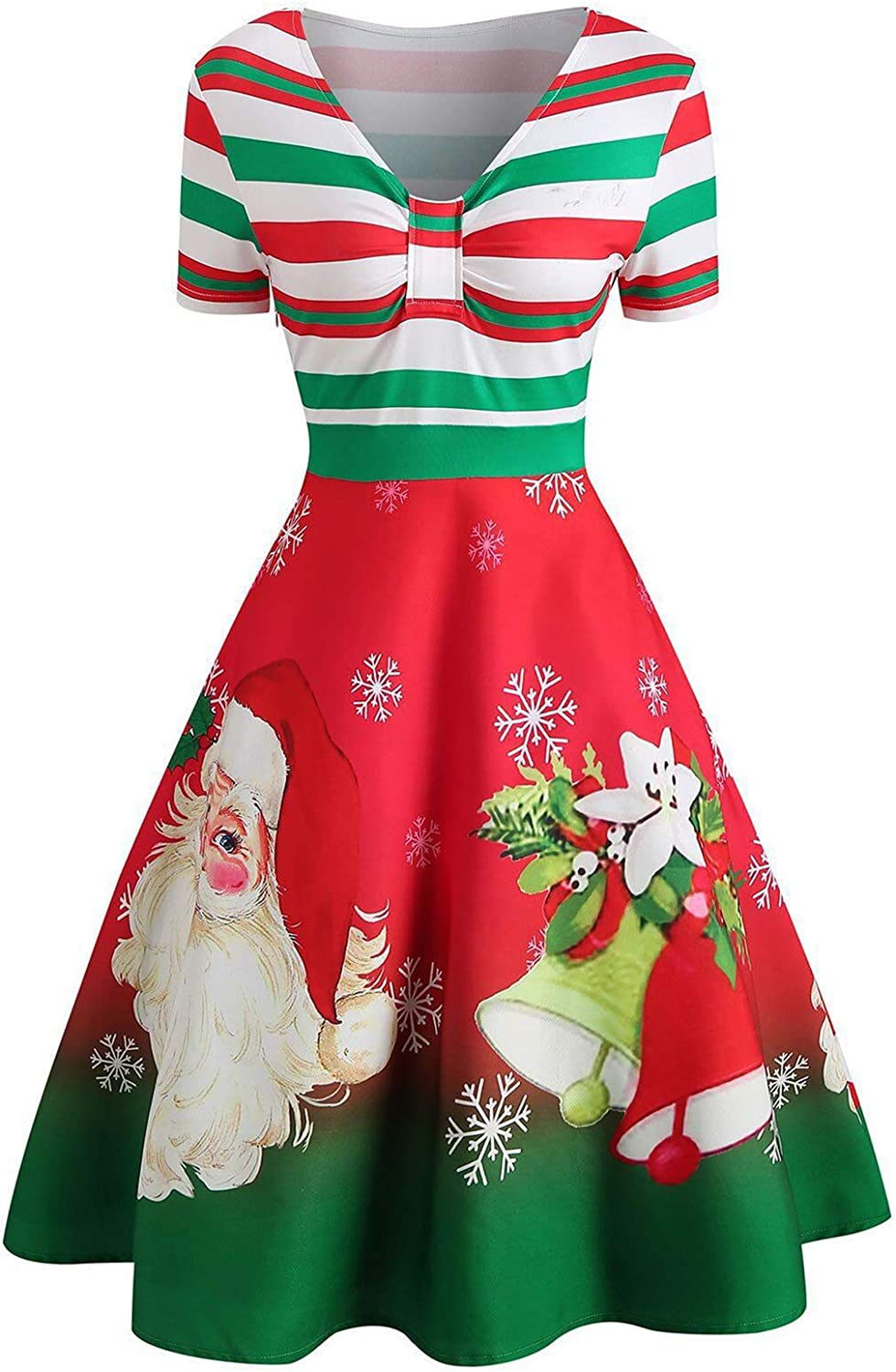 Womens Christmas Vintage Retro Dress, V Neck Stripe Cute Printed Patchwork Swing Cocktail Party Dress