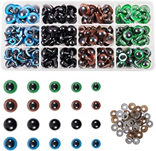 PH PandaHall 200pcs Plastic Safety Eyes with Washers 5 Size 10~18mm 4 Color Craft Doll Eyes for Doll Animal Crafts, Stuffe...
