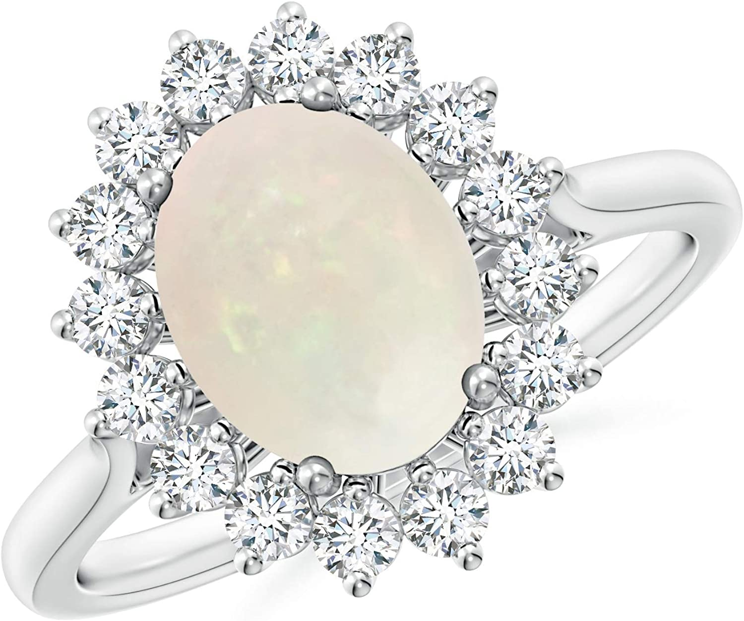 40% OFF Cheap Sale Charlotte Mall Oval Opal Ring with Floral Halo Diamond 9x7mm