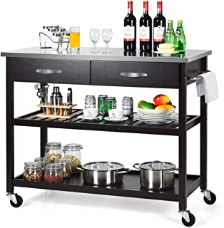 Giantex Kitchen Trolley Cart Rolling Island Cart Serving Cart Large Storage with Stainless Steel Countertop, Lockable Wheels, 2 Drawers and Shelf Utility Cart for Home and Restaurant (Espresso)
