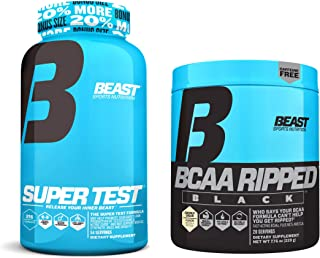 Beast Sports Nutrition Super Test 216-count and BCAA Ripped Black Bundle: Testosterone Booster with Nitric Oxide Bundled with The Fast-Acting BCAA Recovery Matrix (Coconut Cream)