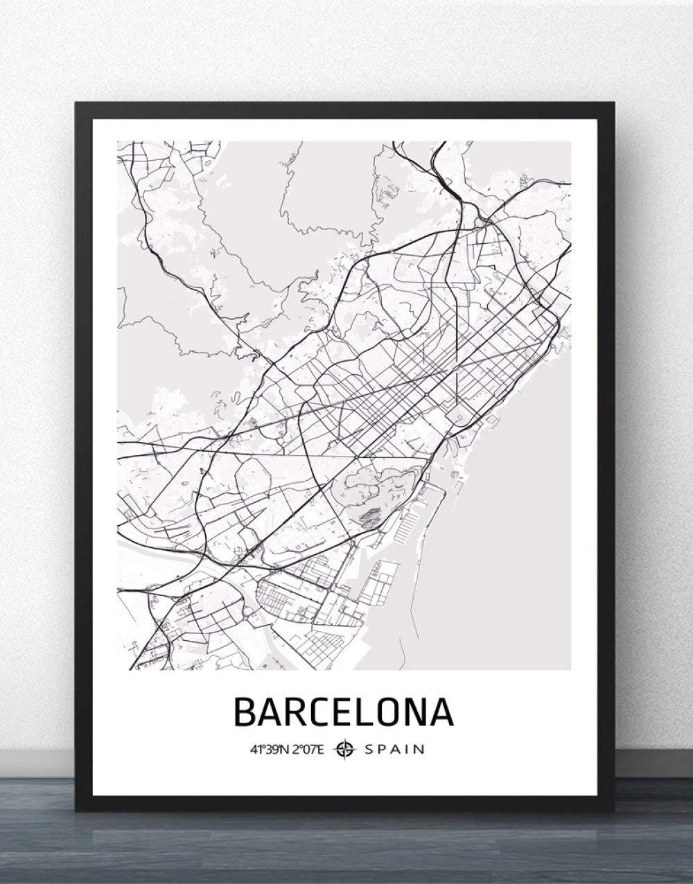ZWXDMY Impresión De Lienzo,España Barcelona Mapa De La Ciudad De Impresión En Blanco Y Negro Lienzo De Texto Simple Cartel Mural De Pintura Sin Cerco Salón Cafetería En La Decoración del Hogar,30×40: