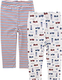AIEOE Baby Organic Cotton Pants Soft Comfy Cartoon Pattern Pants 2 Pack