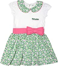 Traditional Craft White Floral Print Shamrock Pink Bow Ireland Kids Girls Dress