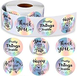 Thank You Business Stickers Roll, DELFINO Thank You Adhesive Label Stickers, 6 Different Patterns Thank You Stickers, Gift...