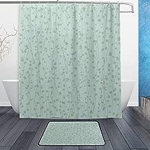 MAOXUXIN Duck Egg Blue Shower Curtain Set with Bath Mats Rugs Bathroom Mat Set Rug Capret for Bathroom Decor - 60 x72 in,23.6x15.7 in