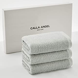 Calla Angel New York フェイスタオル 極上 ホテル仕様 厚手 甘撚り 高級綿 エジプト綿 選べる6色 箱入り 2019新品 アクアシリーズ (フェイスタオル 3枚セット, ライトブルー)