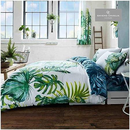 Gaveno cavalia Luxe Tropical Feuille Housse de Couette avec Housse de Couette et taie d'oreiller Double, Vert