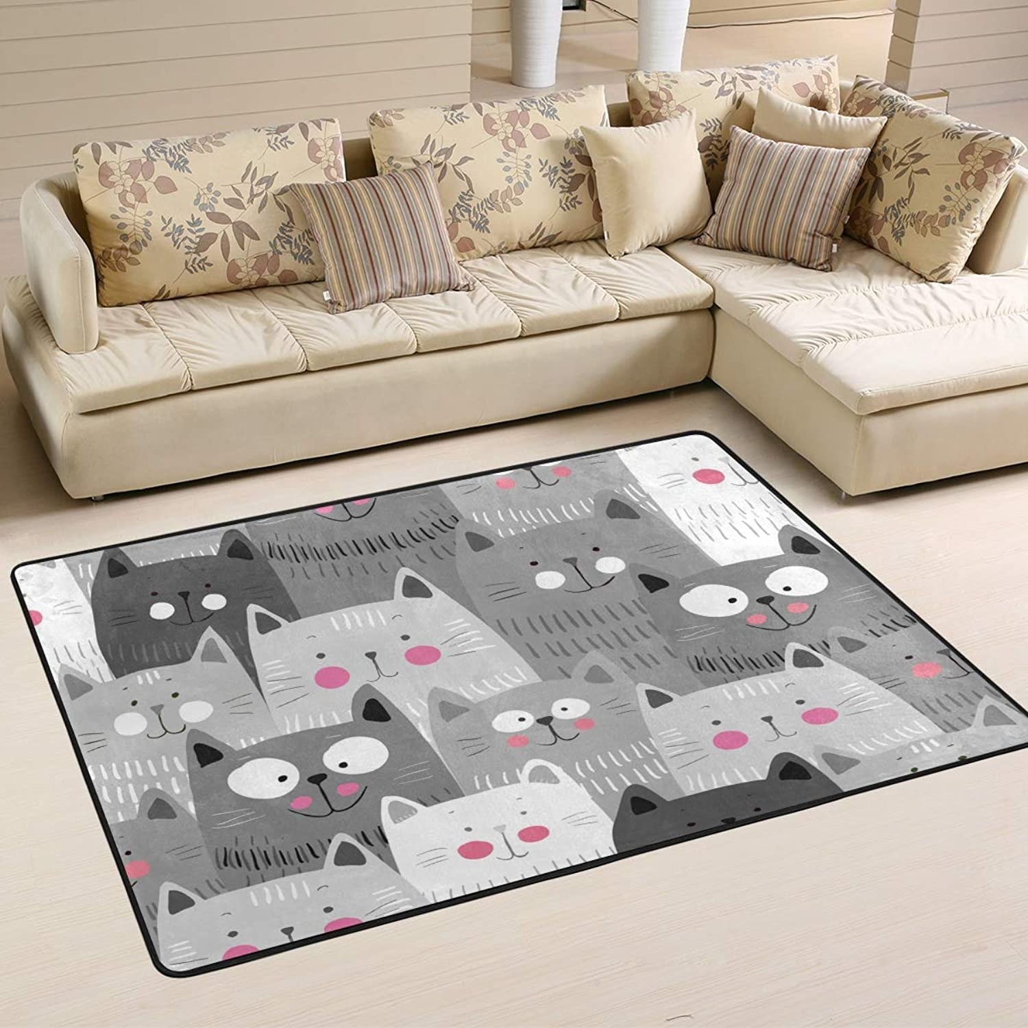 Area Rugs Doormats Cute Cats colorful Soft Carpet Mat 6'x4' (72x48 Inches) for Living Dining Dorm Room Bedroom Home Decorative