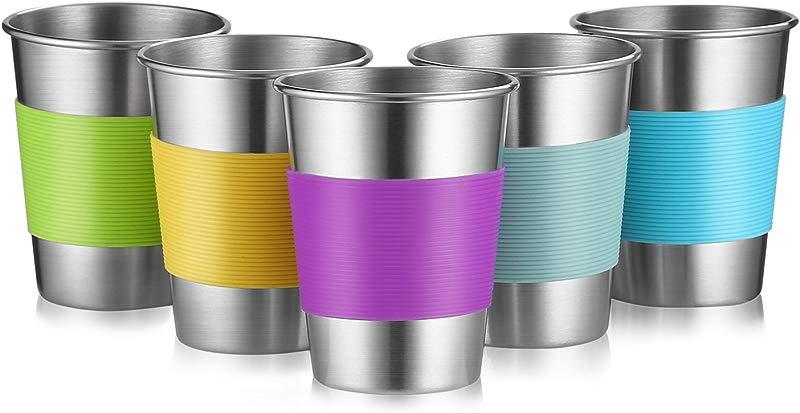 Stainless Steel Cups For Outdoor Indoor Activities And Kids 12 Oz Metal Drinking Tumbler Unbreakable Beer Cups None BPA Set Of 5 5