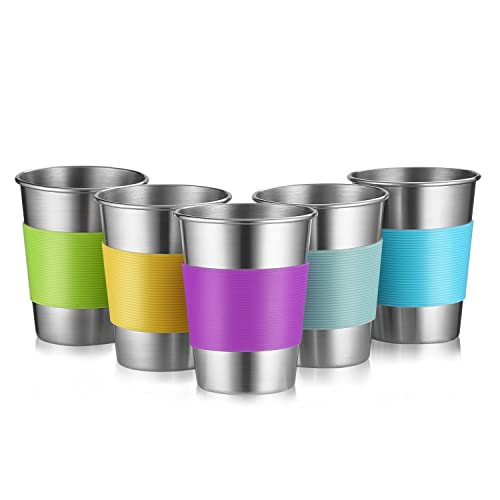 Stainless Steel Cups, Premium Metal Pint Cup Tumblers,12 Oz Metal Drinking Glasses for Kids and Adults, Set of 5,Healthy Unbreakable and Stackable