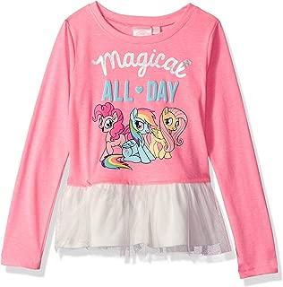My Little Pony Girls' Little Pinkie Pie Hot Pink Long Sleeve Ruffled Blouse T-Shirt
