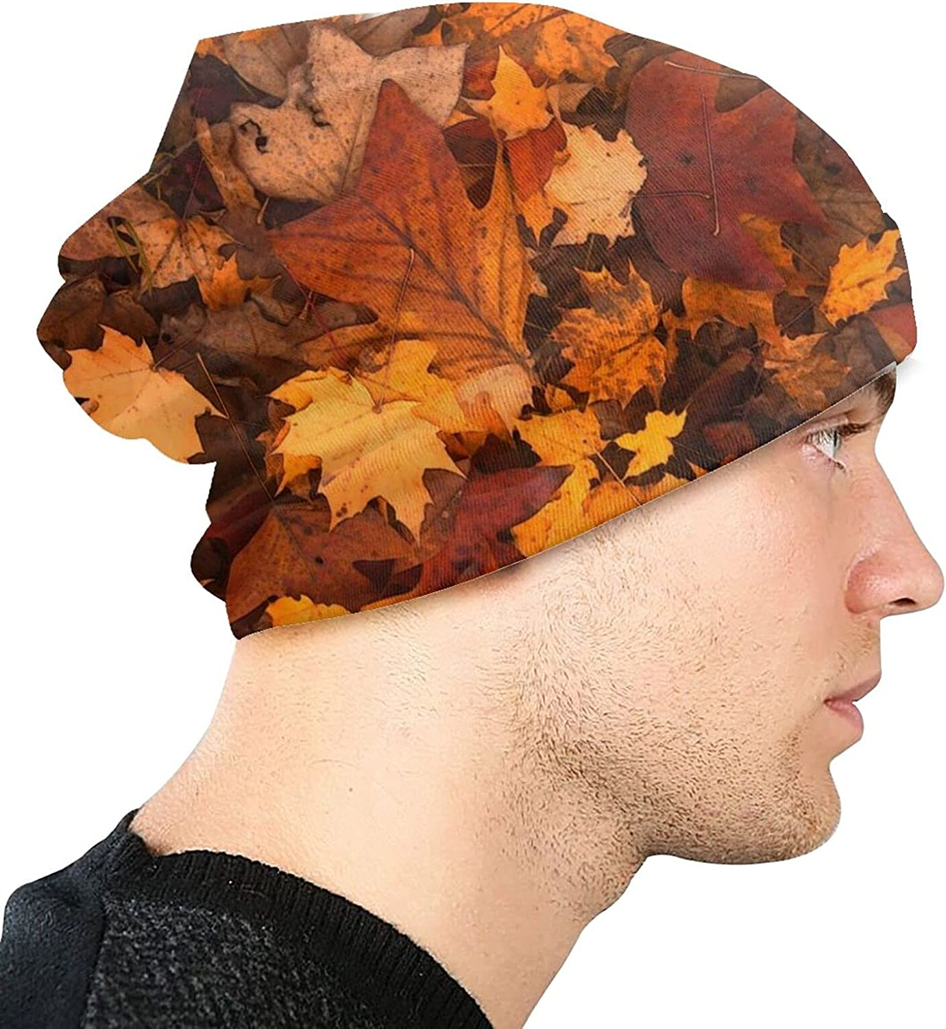 Beanie Hat for Men and Women,Autumn Fall Leaves Lightweight Balaclava Cap,Soft Stretch Slouchy, Suit for Outdoor All Seasons