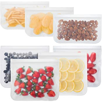 Bayco Reusable Storage Bags (7 Pack) Lunch Sandwich Bags & Small Kids Snack Bags For Food, EXTRA THICK Reusable Food Storage Bags, Reusable Freezer Bags, Reusable Zipper Bags, BPA FREE