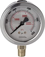 """NOSHOK 900 Series Stainless Steel Liquid Filled Dual Scale Dial Indicating Pressure Gauge with Bottom Mount, 2-1/2"""" Dial, +/-1.5% Accuracy, 0-160 psi Pressure Range"""