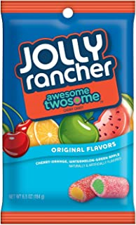 JOLLY RANCHER Chewy Candy, Cherry Orange, Watermelon Green Apple, 6.5 Ounce Bag (Pack of 12)