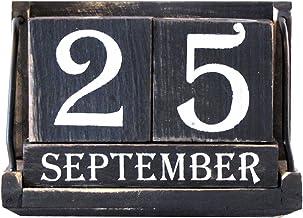 TG,LLC Treasure Gurus Desktop Wood Block Perpetual Calendar
