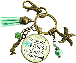 Mermaid Tail Keychain Kisses Starfish Wishes Teal Beach Girl BFF Nautical Pendant Sea Gift Jewelry For Women