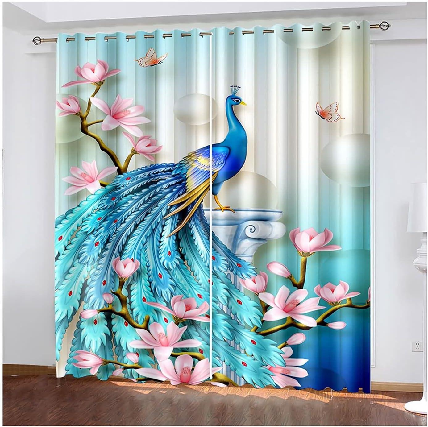 Daesar low-pricing Window Curtains cheap 2 Panels Eyelet Bedroom Peacock
