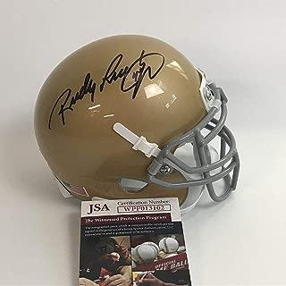 Autographed/Signed Rudy Ruettiger Notre Dame Irish Football Mini Helmet JSA COA