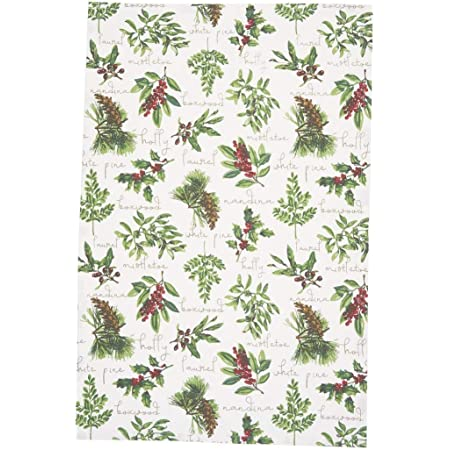 Christmas Holly Berry on White Cotton Woven Large Kitchen Towel New