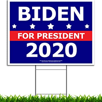 VIBE INK Joe Biden for President 2020 Political Campaign Yard Sign Large 24x18 with Included Lawn H-Stake - Made in America - Waterproof - Front & Back
