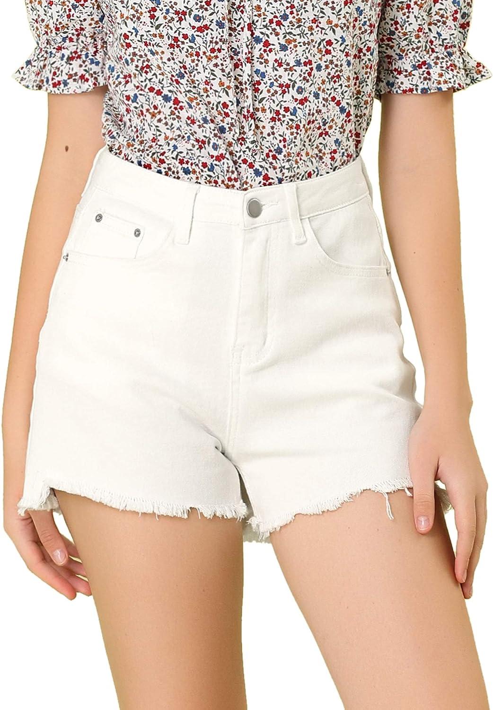 Allegra K Women's Summer Cotton Raw Hem Pockets Denim Jean Shorts