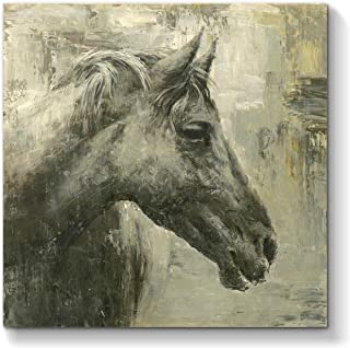 Black Horse Canvas Wall Art: Abstract Animal Artwork Painting Print Picture for Living Room (24'' x 24'' x 1 Panel)