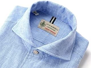 ルイジボレッリ ルイジボレリ LUIGI BORRELLI / 20SS!製品洗いリネンポプリン無地イタリアンカラーシャツ「VESUVIO(9129)」 (サックスブルー) メンズ
