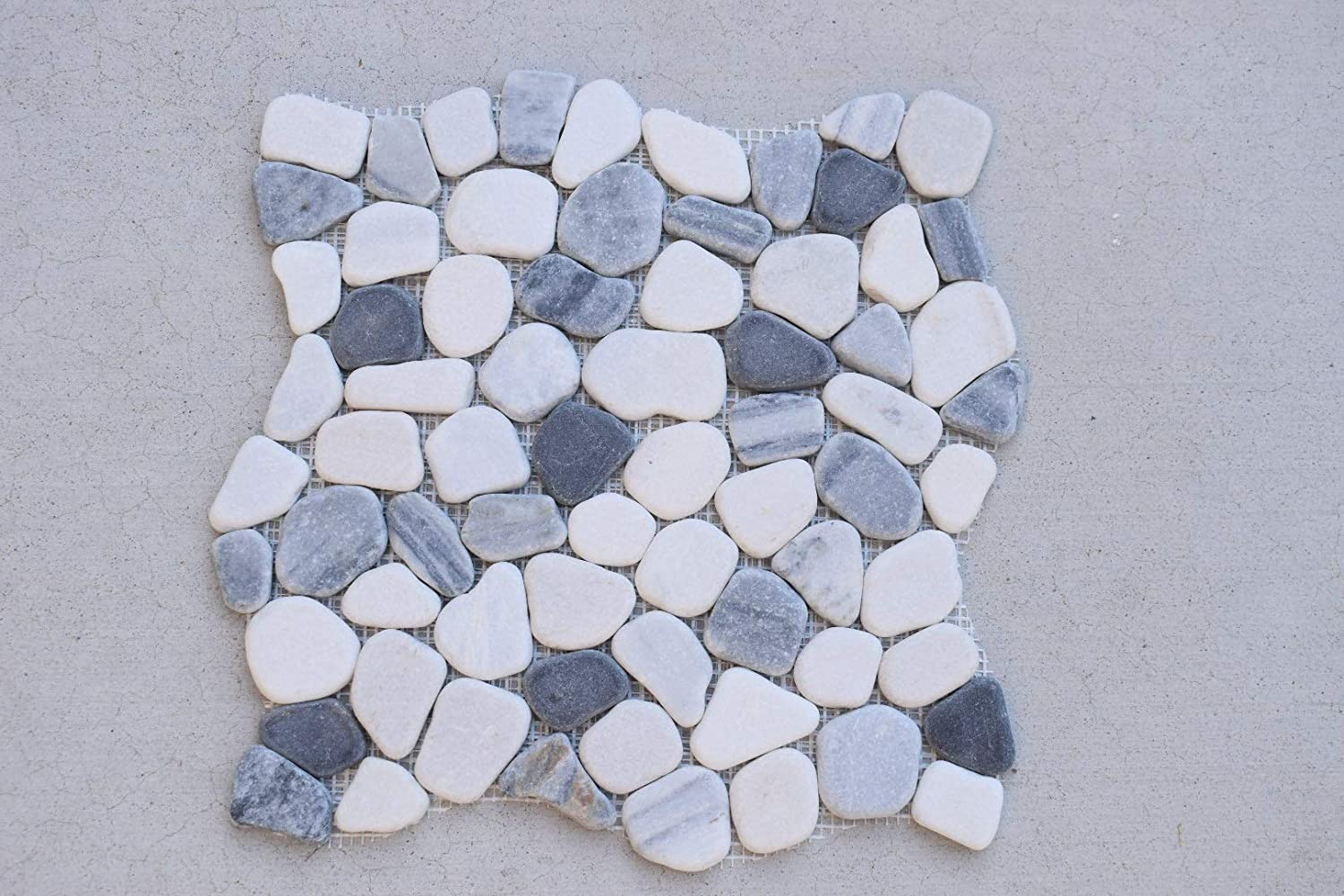 Interlocking Pebble Floor Tiles Indoor and Outdoor Use and Patio Flooring Kitchen Bathroom 5-Pack Natural Jade Stones Quick and Easy Grout Installation