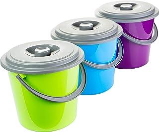 Centi Eimer mit Kunststoffbügel und Deckel, 5 Liter, 3er Set lila, blau & grün 0428.718139