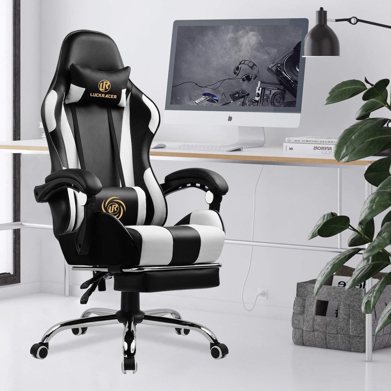 Blanc LUCKRACER Chaise Gaming Fauteuil de Bureau Chaise de Massage Lombaire Pivotante avec Repose-Pieds et Accoudoirs au Style de Course en Cuir de PU