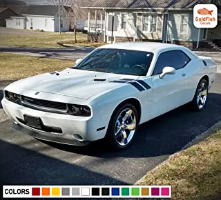 Gold Fish Decals Decal Graphic Racing Side Hood Fender Hash Stripe Kit for Dodge Challenger RT SRT 2008 2009 2011 2013 2015 2016 2017