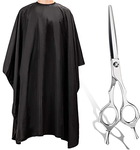popular Hair Cutting Scissors 6.7 wholesale inch ULG Professional Barber Haircut Shears 440C Japanese Stainless Steel+ULG Hair Salon Cape with Adjustable Snap lowest Closure Waterproof Hair Salon Cutting Cape outlet sale
