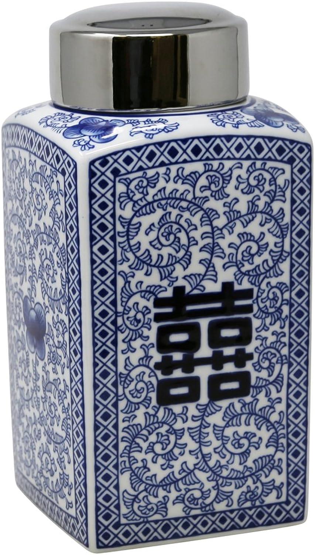 Sagebrook Home 13454-01 Ceramic Jar, 6.25  x 6.25  x 12 , bluee White