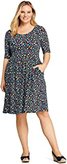 cbcae0dddce41 Lands' End Women's Plus Size Elbow Sleeve Floral Fit and Flare Dress